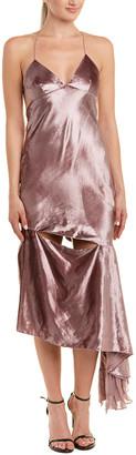 Milly Velour Silk-Trim Gown