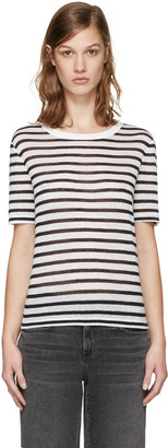 T by Alexander Wang Navy & White Striped T-Shirt