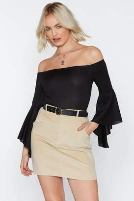 Nasty Gal Bardot Ribbed Flare Sleeve Bodysuit