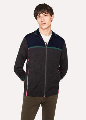 Paul Smith Men's Grey Marl And Navy Colour-Block Merino Wool Funnel-Neck Zip Sweater