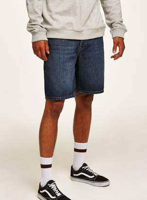 Topman Dark Wash Boxy Fit Denim Shorts