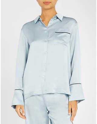 Asceno Contrast piping silk-satin pyjama top