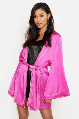 boohoo Hot Pink Piped Kimono Robe