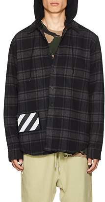 Off-White Men's Checked Cotton-Blend Hooded Shirt