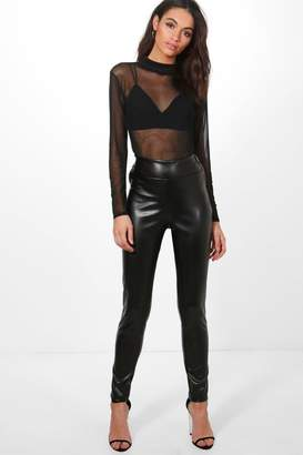 boohoo Mia Leather Look Zip Side Trousers