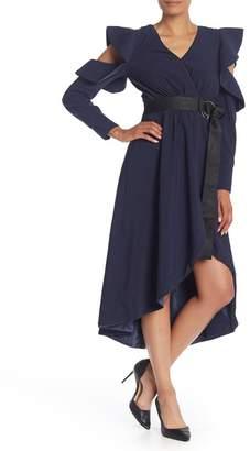 Gracia Ruffled Cold Shoulder High/Low Midi Dress