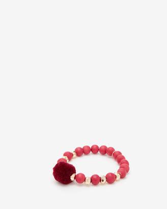 Express Wooden Bead Pom Stretch Bracelet