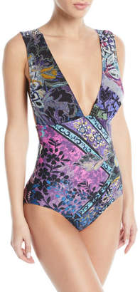Fuzzi Printed Plunging One-Piece Swimsuit
