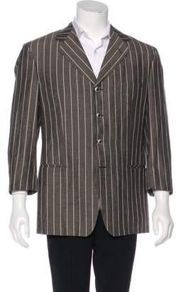 Versace Silk & Linen-Blend Striped Blazer