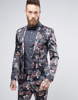 ASOS Super Skinny Suit Jacket in Dark Floral Sateen Print $128 thestylecure.com