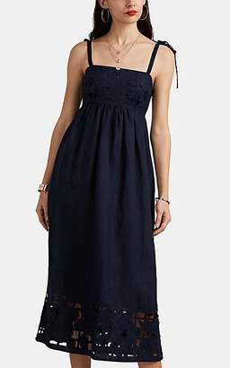 Zimmermann Women's Juno Embroidered Slub Linen Cutout Dress - Navy