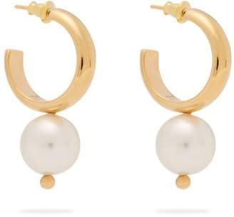 Simone Rocha Faux Pearl Drop Hoop Earrings - Womens - Pearl