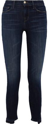 J Brand - Distressed Mid-rise Skinny Jeans - Dark denim $220 thestylecure.com