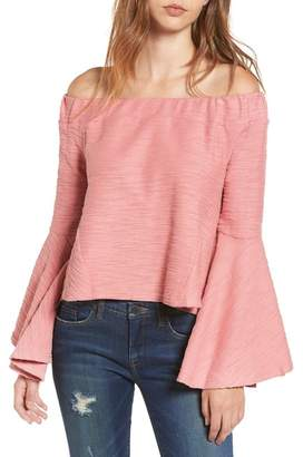 Moon River Off the Shoulder Bell Sleeve Top