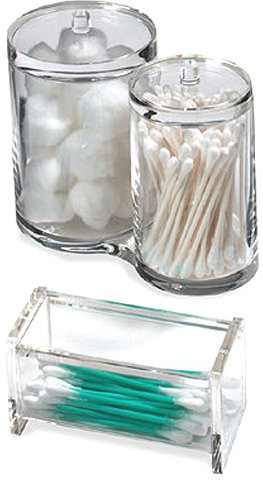 Container Store Acrylic Cotton & Swab Holders