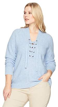 Lucky Brand Women's Plus Size Lace up Sweater