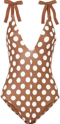 Zimmermann Grosgrain-trimmed Polka-dot Swimsuit - Tan