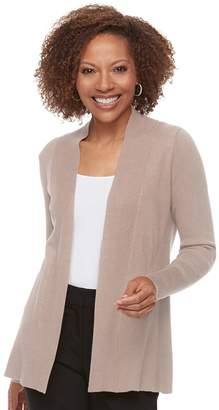 Dana Buchman Petite Ribbed Long Sleeve Cardigan