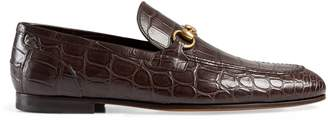 Gucci Jordaan crocodile loafer $695 thestylecure.com