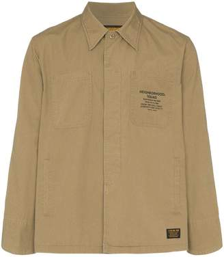 Neighborhood logo print shirt jacket