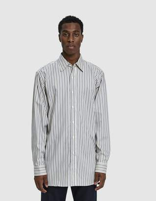 Dries Van Noten Striped Button Up Shirt in Ecru