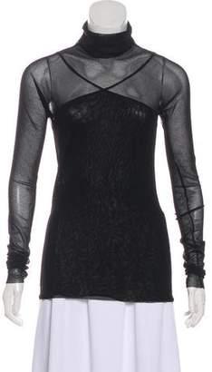 Fuzzi Long Sleeve Semi-Sheer Top