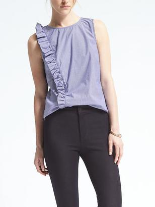 Easy Care Stripe Ruffle Ruched Top $68 thestylecure.com