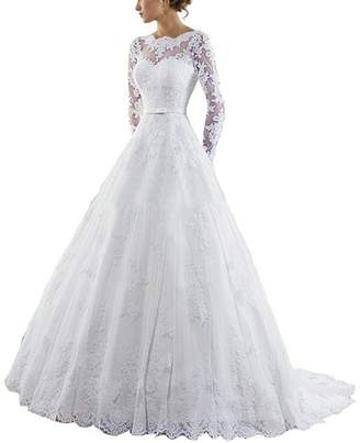 APXPF Women's Long Sleeves Wedding Dress Backless Lace Tulle Bride Gowns US