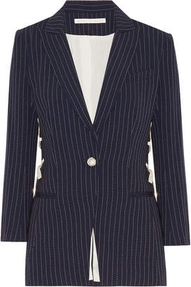 Taylor Lace-up Pinstriped Crepe Blazer - Midnight blue