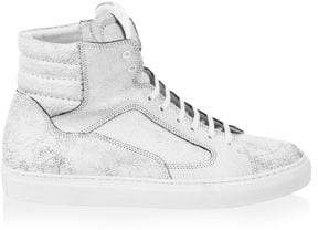 Public School Cracked White Leather Artel High Tops
