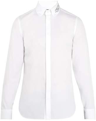 Gucci Embroidered-collar single-cuff cotton shirt