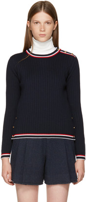 Thom Browne Navy Rib Stitch Crewneck Pullover $1,090 thestylecure.com