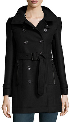 Burberry Daylesmoore Wool-Blend Zip-Pocket Trench Coat $1,095 thestylecure.com