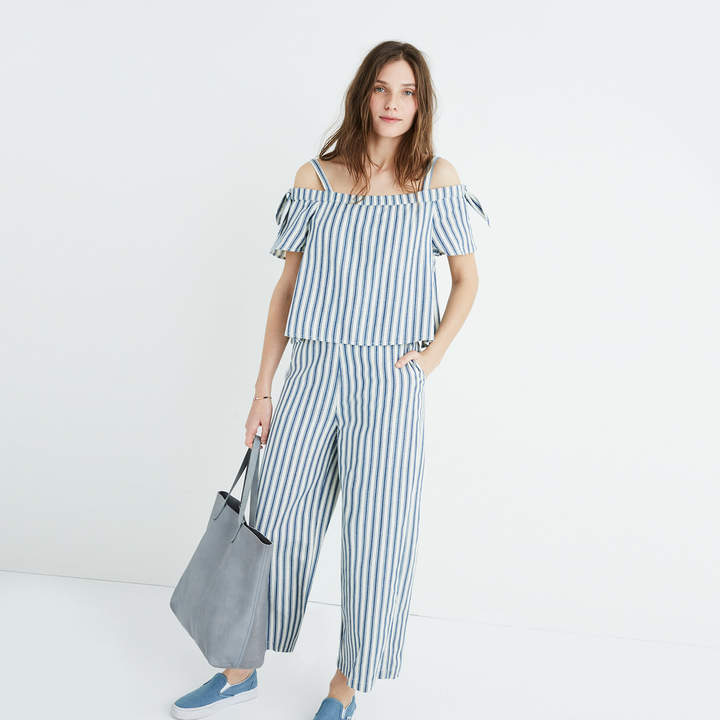 Striped Cold-Shoulder Jumpsuit