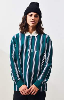 Obey Firm Classic Striped Long Sleeve Polo Shirt