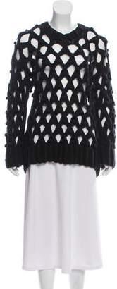 Alexander Wang Open Knit Long Sleeve Sweater