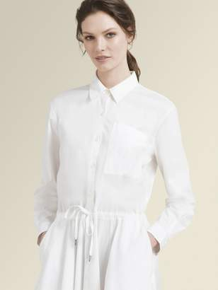 DKNY Stretch Poplin Long Sleeve Button Dress