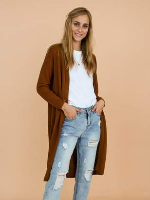 Goodnight Macaroon 'Kylee' Ribbed Long Open Front Cardigan