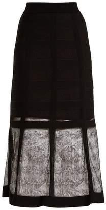 Alexander McQueen Corset Effect Contrast Knit Midi Skirt - Womens - Black