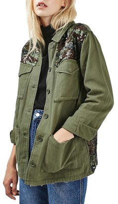 Topshop Camo Sequin Shirt Jacket $95 thestylecure.com