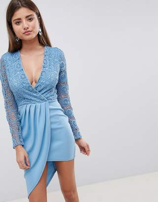 Club L Crochet Detailed Wrap Over Asymmetric Dress