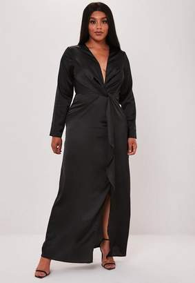Missguided Plus Size Black Satin Thigh Split Maxi Dress, Black