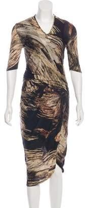 Helmut Lang Wool Abstract Print Midi Dress
