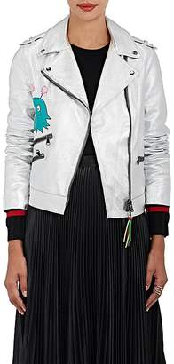 """Mira Mikati Women's """"Whatever"""" Metallic Leather Moto Jacket"""