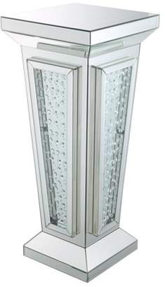 Acme Nysa Pedestal Stand in Mirrored and Faux Crystals