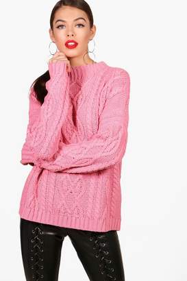boohoo Zoe Oversized Funnel Neck Crop Cable Jumper