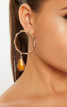 PrettyLittleThing Gold Bamboo And Gemstone Hoop Earrings