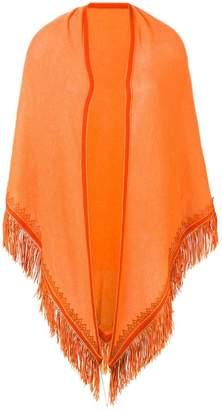 Antonia Zander fringed poncho scarf