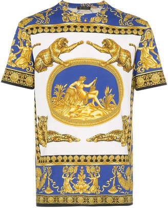 Versace blue and white Medusa print cotton short sleeve t shirt
