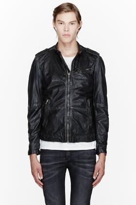 Diesel Black worn leather Leprandis jacket
